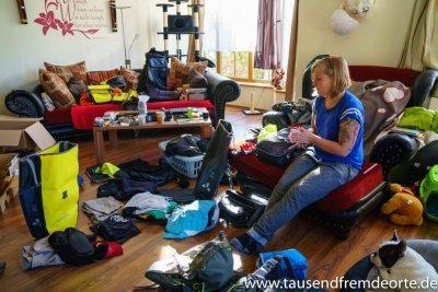 So sieht es aus, wenn wir versuchen unsere Sachen zu packen