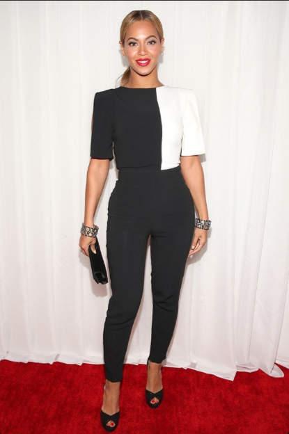 Beyonce b&W jumpsuit Osman Yousefzada