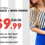 Romwe Black and White Fluid Striped Shirt