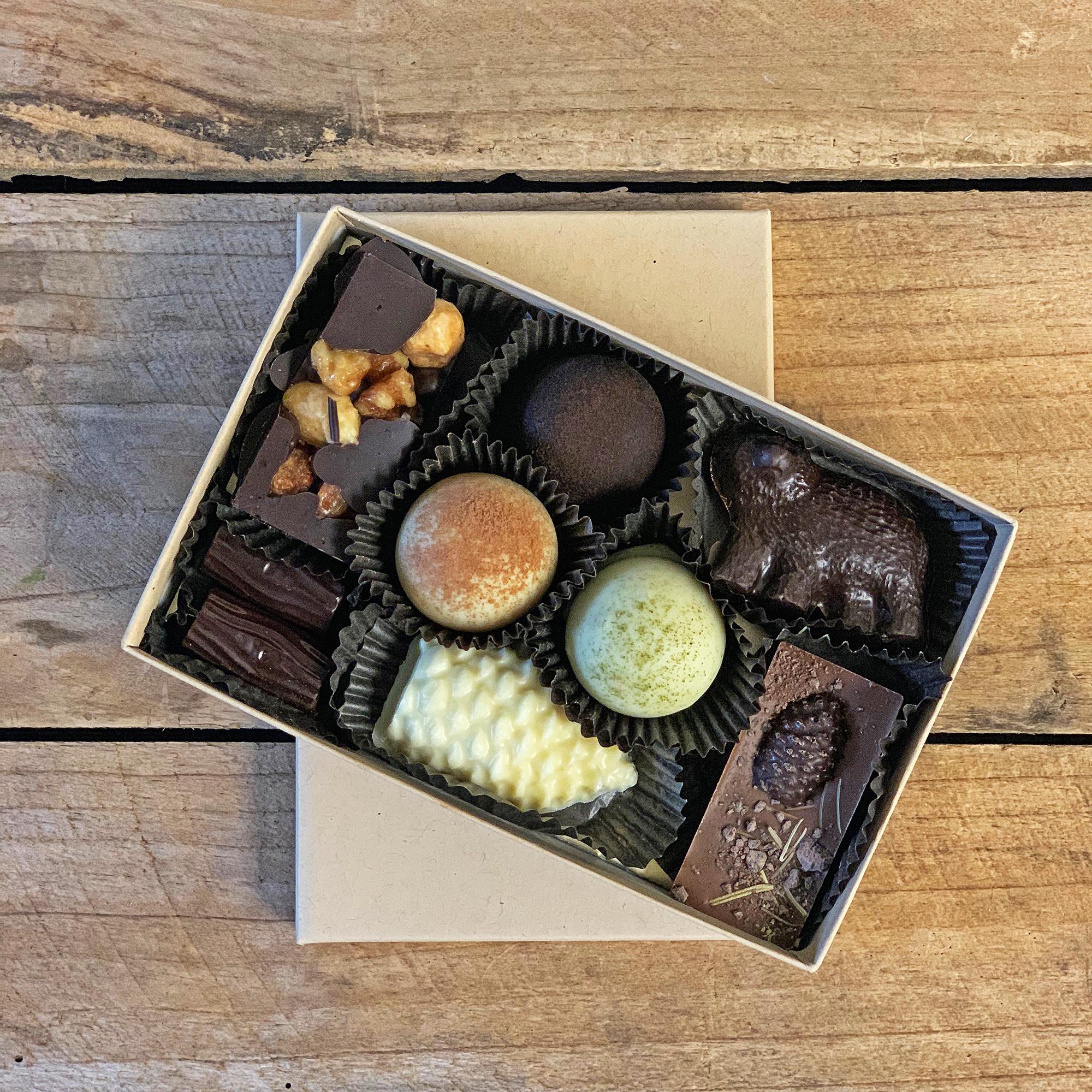 Medium Mountain Trail Bonbon Collection. Box features 8 bonbons in various sizes.