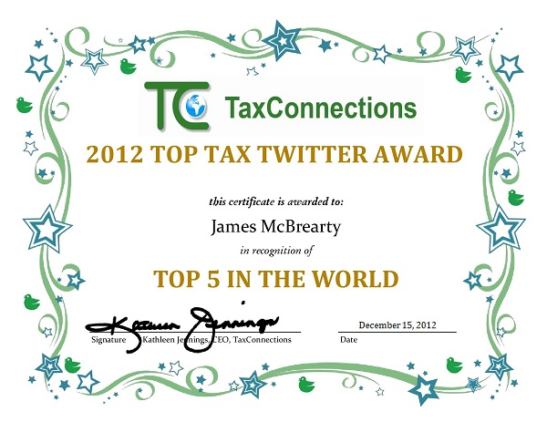 James McBrearty Top 5 Tax Twitter Award