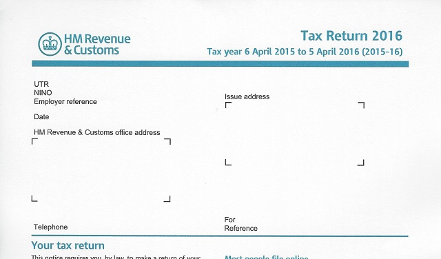 HMRC 2016 tax return SA100 download location