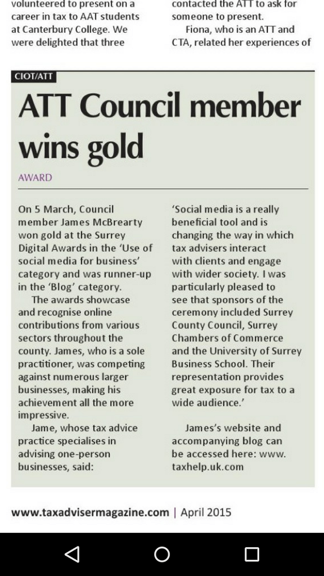 TAXAdviser.April2015.James McBrearty.Social Media Gold