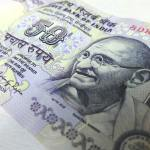 Close up of an Indian Rupee banknote