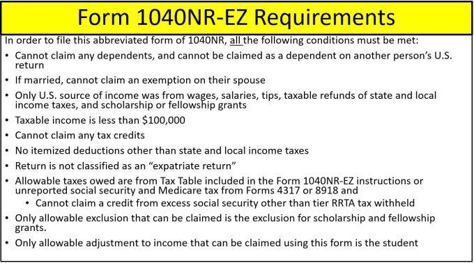 Form 1040nr Ez Tax Table Microfinanceindia