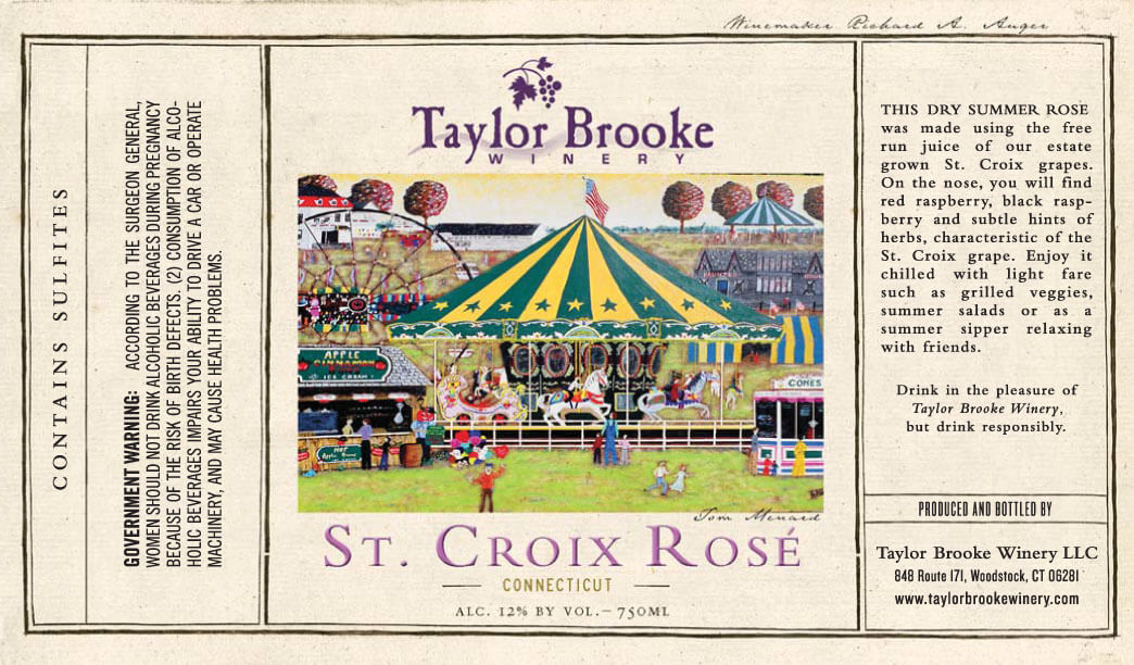 st croix rose wine label