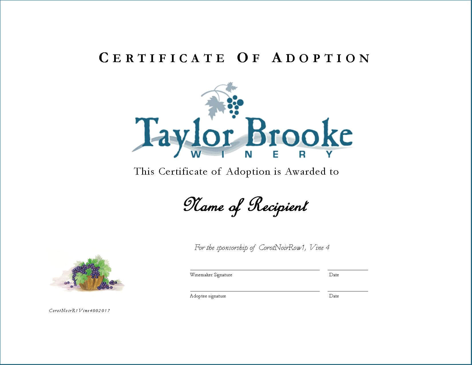 Adopt A Vine Taylor Brooke Winery