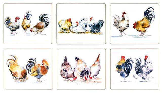 Chicken Groups Tablemats and Coasters