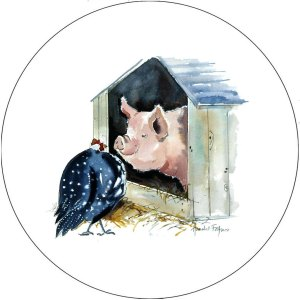 Melamine Placemats Pig with Guinea Fowl Pot Stand