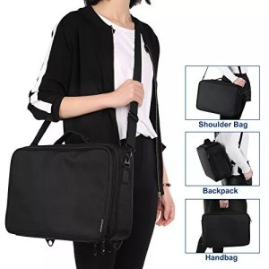 The configurable straps make the professional cosmetic bag easy to carry in multiple positions.