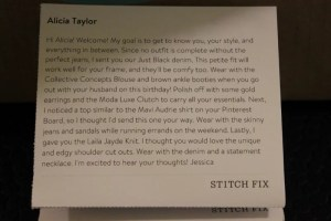 Personal note from my Stitch Fix Stylist, Jessica