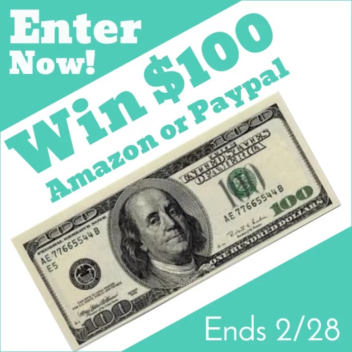 Enter to win $100 Amazon Gift card or Paypal Cash