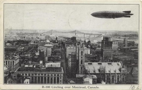 Airship R100 over Montreal, ca. 1930
