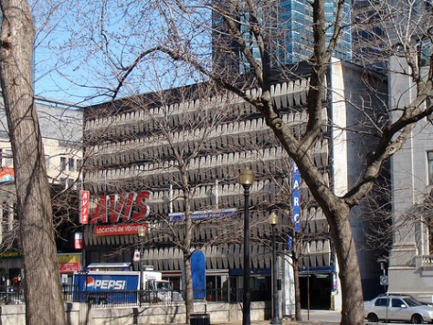 Avis Parking Garage on Dorchester Square - credit to Spacing Montreal