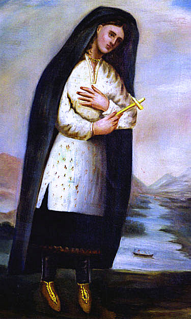 The only known and likely historically inaccurate portrait of Saint Catherine Tekakwitha
