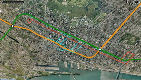 Orange & Green denote the Métro lines that pass through the city centre, the red line indicates the possible route of a Ste-Catherine Street tram and the turquoise lines point out  where the RÉSO would connect the two
