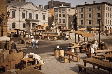 Place Royale set up as a kind of 'living history' temporary exhibit - photo credit to McMomo, 2009