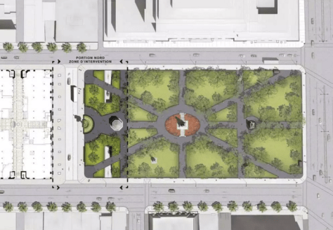 Bird's eye rendering of new Dorchester Square; note the pedestrian bridges