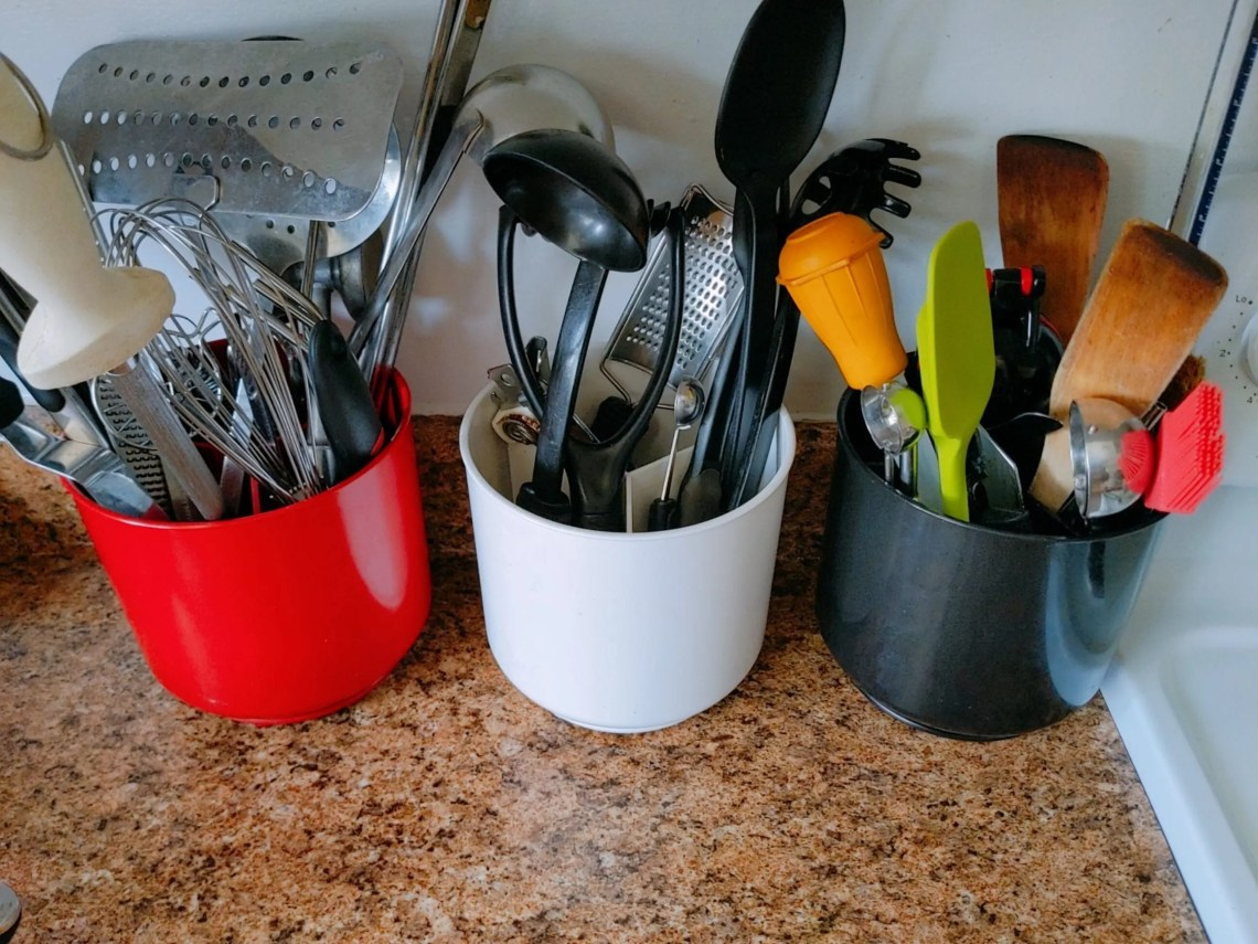 kitchen utensils in a holder