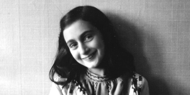 The Jewish girl Anne Frank, who became known through her diary records in the hiding place of her family in Amsterdam (Netherlands) during the Second World War