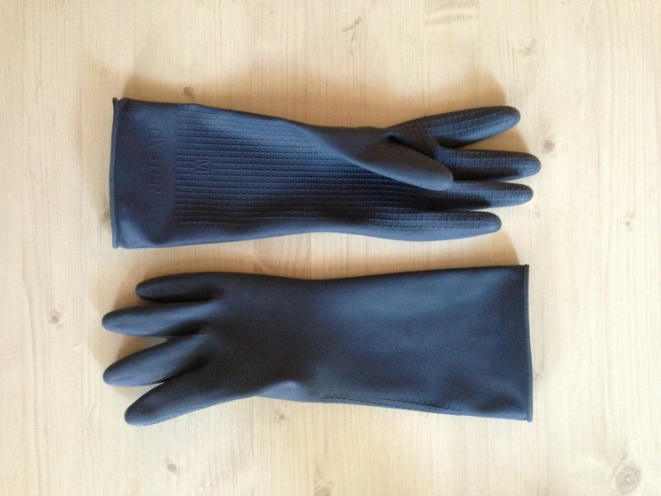 Rubber gloves for cleaning up broken glass