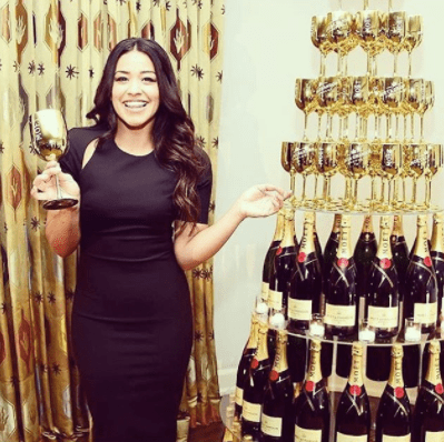 drinking wine with celebrities Gina Rodriguez