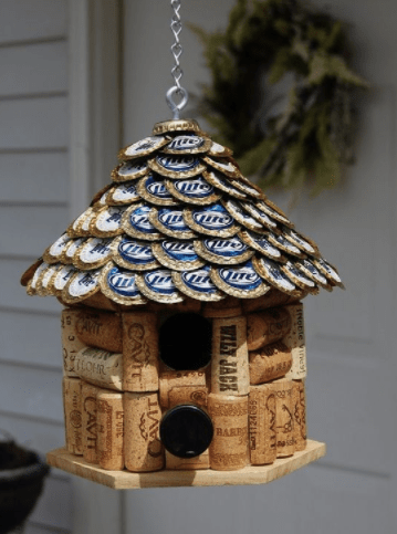 diy bottle cap craft - birdhouse