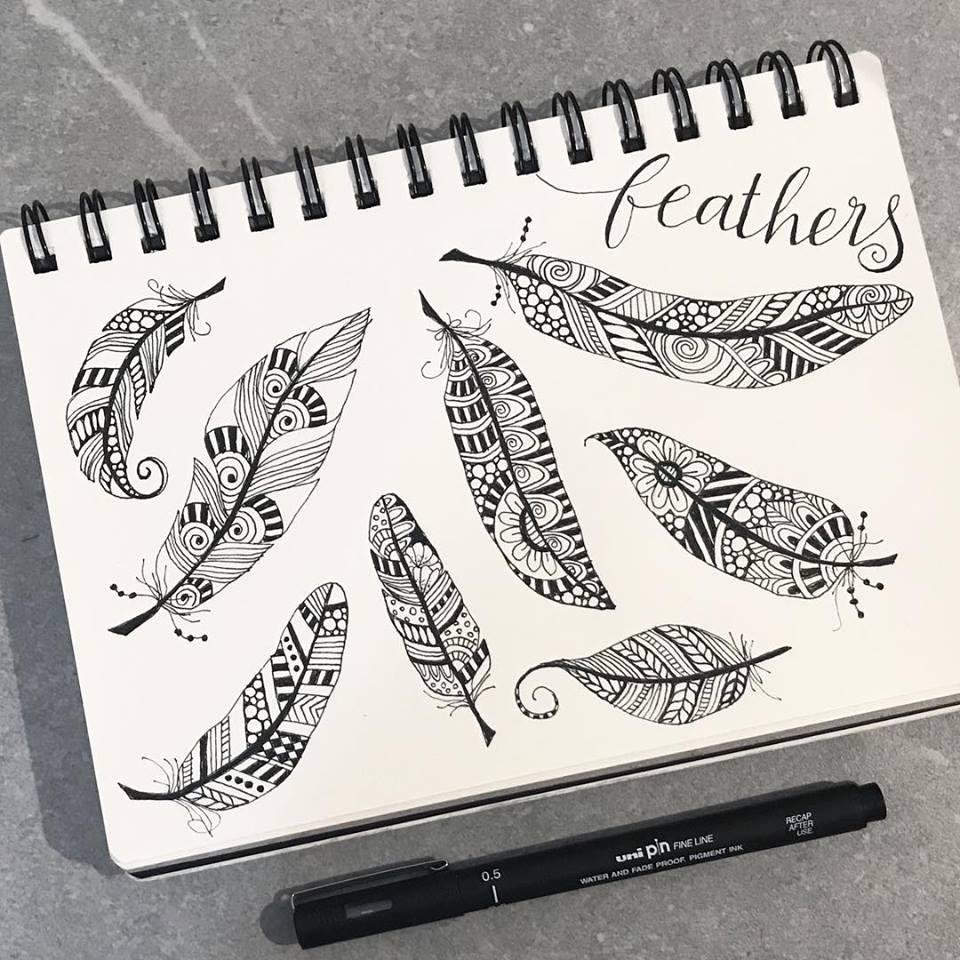 Tazi doodle feathers