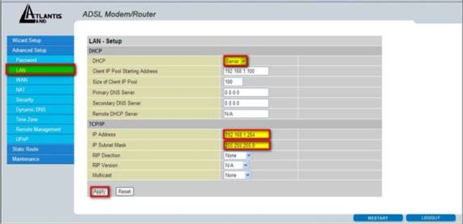 Atlantis Land Router Configuration (interface 2) 1