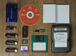 data storage media that can help you prepare for a data disaster, USB drives, CDs, SD cards