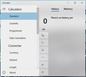 image of Windows Calculator showing menu options