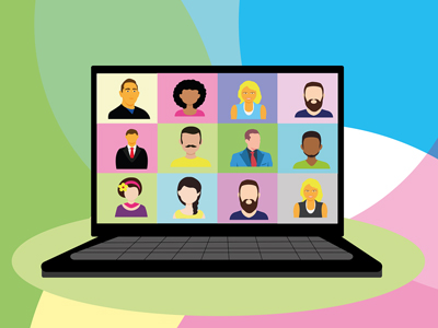 Coloful illustration of video meeting, cartoony laptop displays 12 faces on screen.