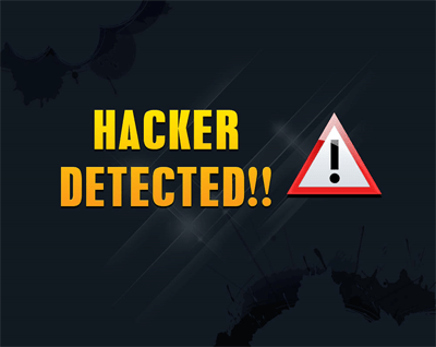"Bright orange and yellow all-caps letters next to a triangle hazard symbol on a black background. Text reads ""HACKER DETECTED!"""