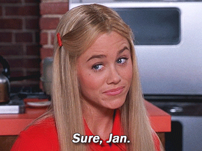 """Still frame from """"Sure Jan"""" meme GIF. Image of Marcia from the Brady Bunch saying, """"Sure, Jan."""""""