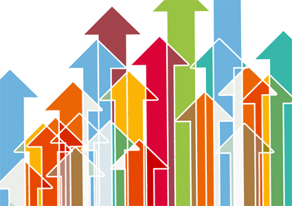 many arrows of different and overlapping colors point upward to illustrate growth