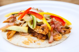 Chili Rubbed Chicken Tacos with baby molé, zucchini slaw & spicy ramp relish