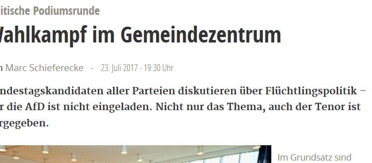 Ergänzung zum Zeitungsartikel der StZ zur Podiumsdiskussion in Böblingen