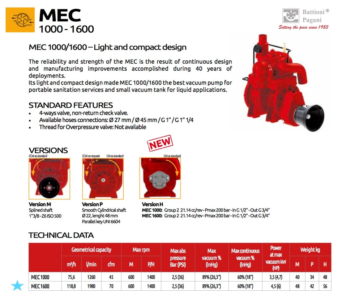 TrioTank Mec1600 Vacuum Battioni Pagani
