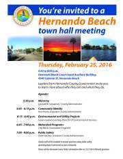 Town Hall Meeting Set Tonight for Hernando Beach