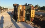 Students Injured When School Bus Overturns in Crash