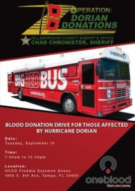 Hurricane Dorian Blood Drive | Hillsborough Sheriff | Events
