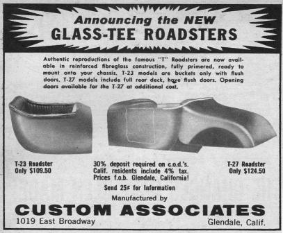 Custom Associates Cal Automotive Glass-Tee Fiberglass T-Bucket Body