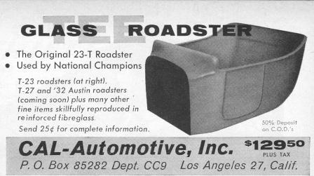 Cal Automotive Glass-Tee Fiberglass T-Bucket body