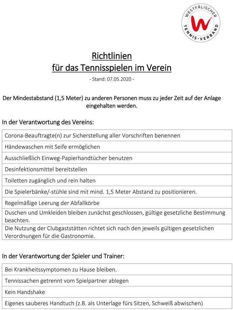 Corona-Richtlinien - Vereine (07.05.2020) WTV