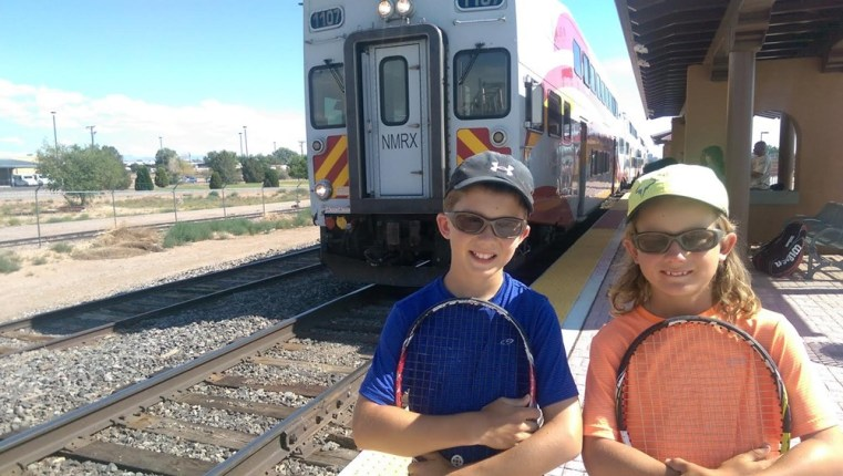 The Bloodworth kids commute to their lessons by way of the New Mexico Rail Runner.