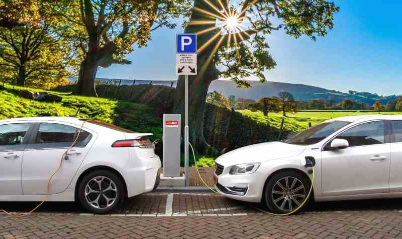 electric vehicles at a charging station