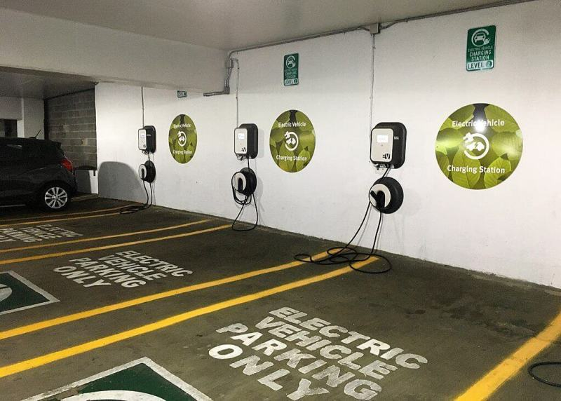 A garage with multifamily EV charging stations