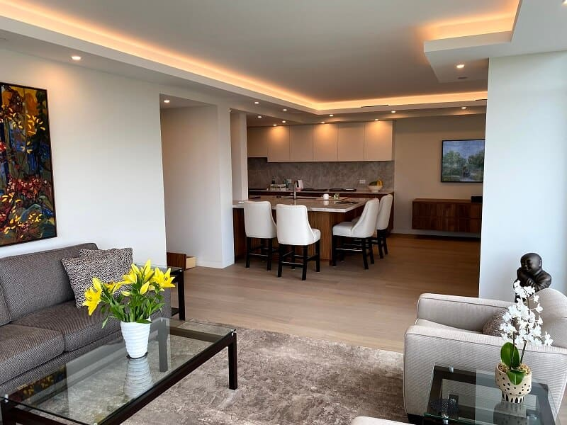 LED cove lighting in the renovated King's Landing apartments