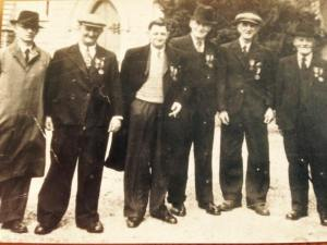 Members of the Dundalk Volunteers, left to right Phil Hearty, Peter Clifford, Paddy McHugh, James Hanratty, Hugh Kearney and Thomas Hamill. Reproduced with permission of the Dundalk 1916 Relatives Committee