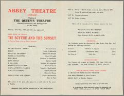Programme for Abbey Theatre 'The Scyth and the Sunset' 26 May 1958 TCD MS 10066/301/119